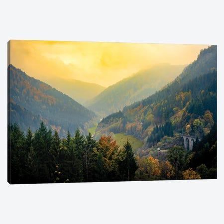 Schwartzwald Landscape: Sunset Hills Valley 3-Piece Canvas #NRV21} by Nik Rave Canvas Art