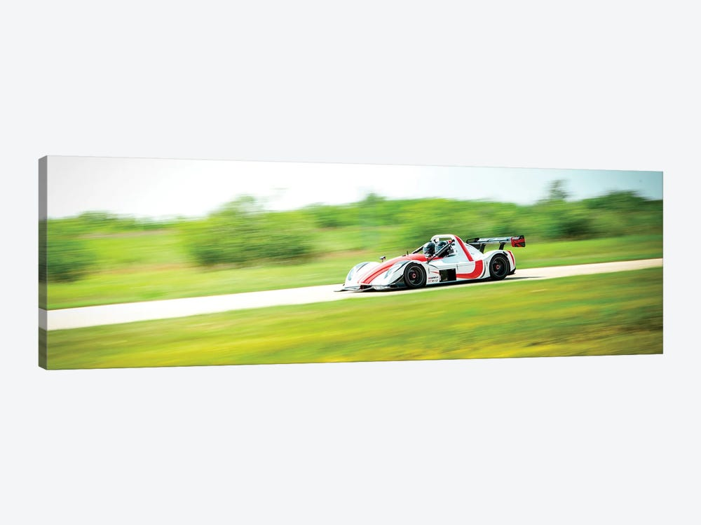White & Red Formula 1 On The Track In Motion by Nik Rave 1-piece Canvas Artwork