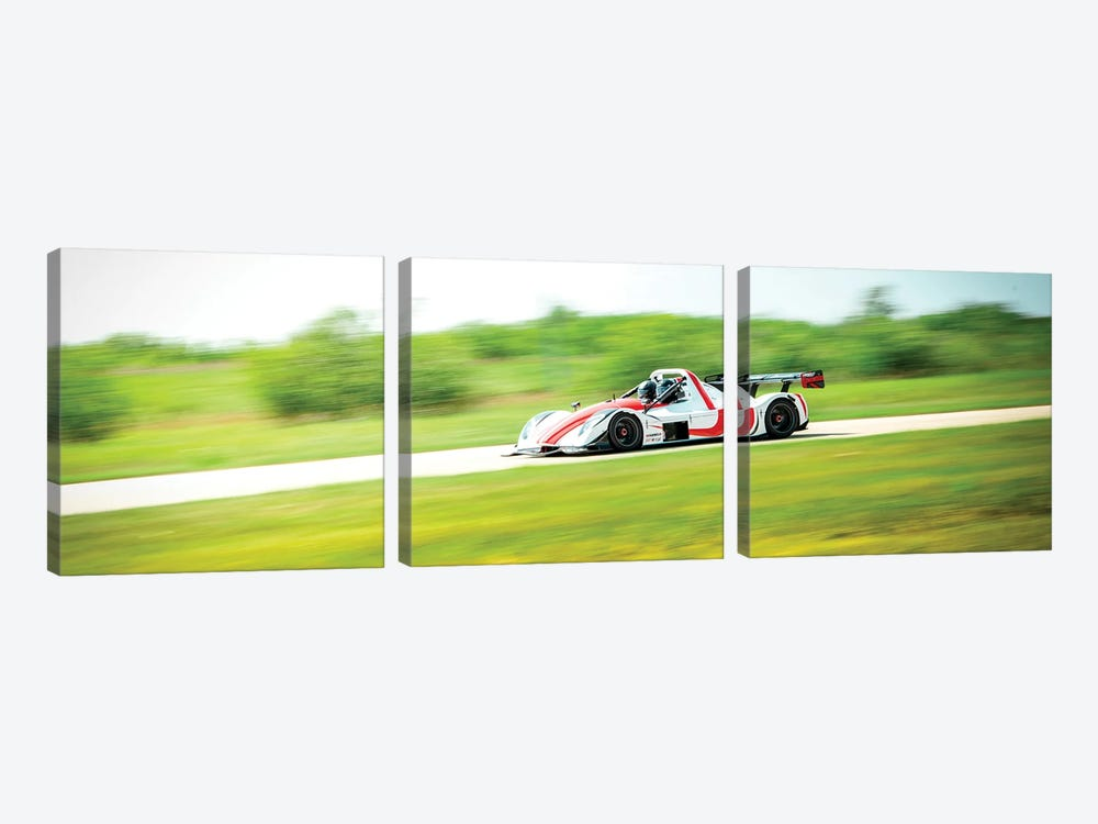 White & Red Formula 1 On The Track In Motion by Nik Rave 3-piece Canvas Art