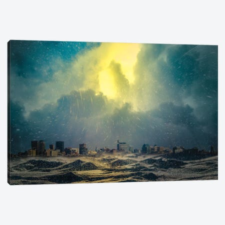City Under Blizzard 3-Piece Canvas #NRV23} by Nik Rave Canvas Art