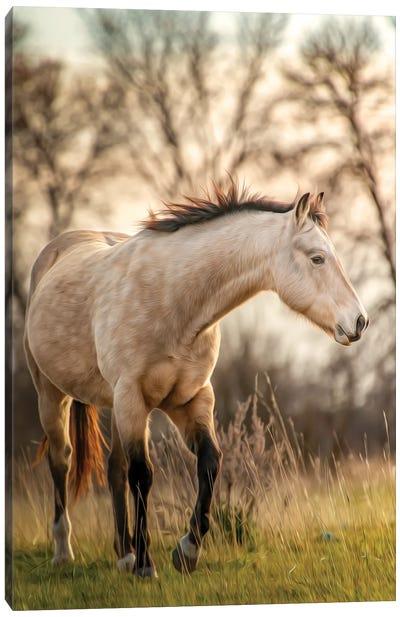 Grey Horse Portrait Painting Canvas Art Print