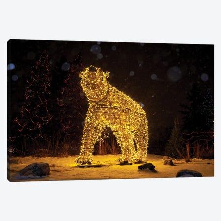 Polar Bear Christmas Lights Canvas Print #NRV276} by Nik Rave Canvas Wall Art