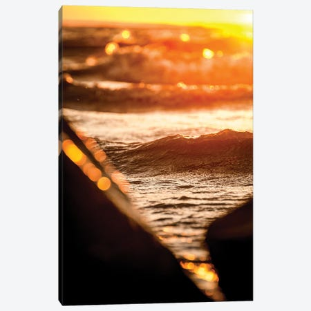 Bright Sun Through The Rocks Over The Lake Canvas Print #NRV297} by Nik Rave Canvas Wall Art