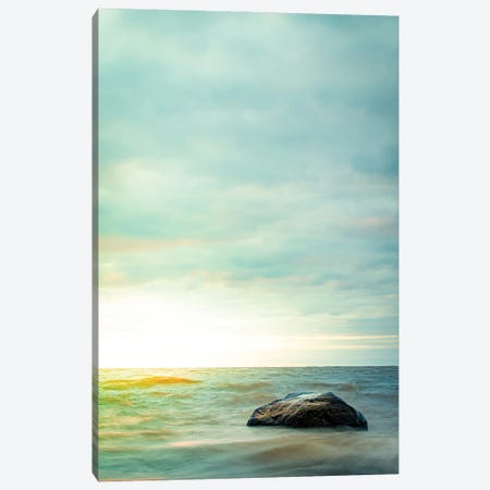 Rock In The Shallow Water Canvas Print #NRV318} by Nik Rave Canvas Art