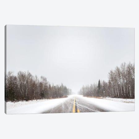 Empty Highway At Blizzard Canvas Print #NRV337} by Nik Rave Art Print