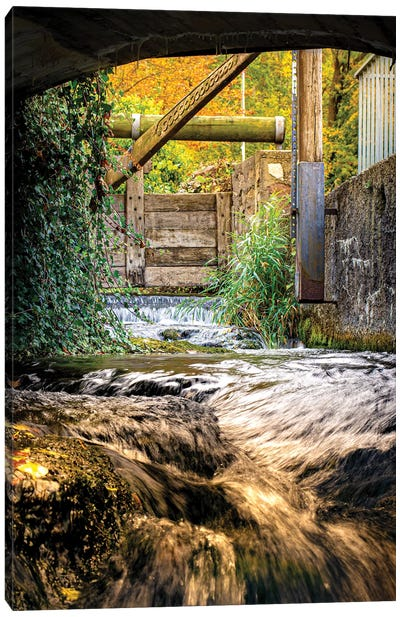 Small Waterfall River Under The Bridge Canvas Art Print