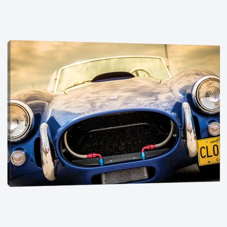 Blue Shelby Cobra Close Up Canvas Print #NRV43} by Nik Rave Canvas Artwork