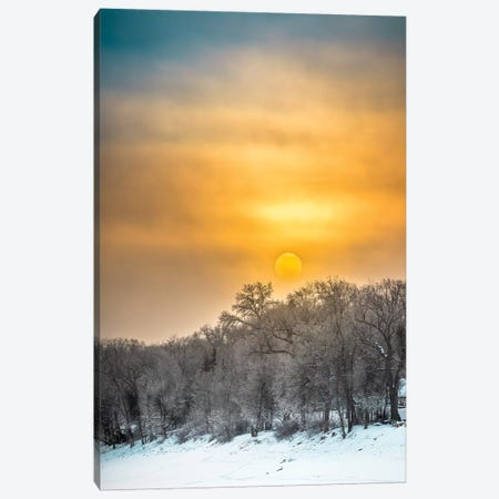 Sunrise Over Frozen River 3-Piece Canvas #NRV87} by Nik Rave Art Print