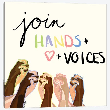 Join Hands And Hearts Canvas Print #NRX106} by NoelleRx Canvas Print