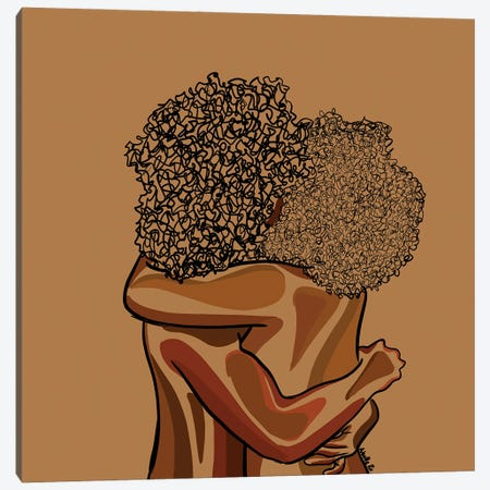 Afro Hug Canvas Print #NRX114} by NoelleRx Canvas Art