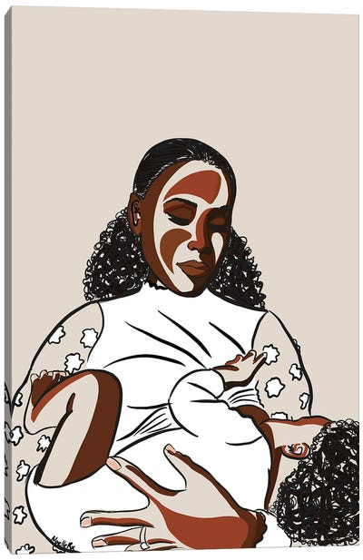 Black Mothers Breastfeed II Canvas Art Print