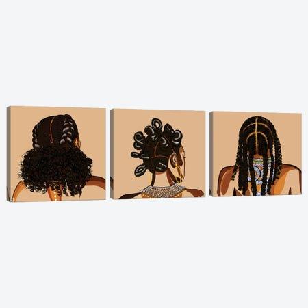 Black Hair Story Triptych Canvas Print Set #NRX3HSET001} by NoelleRx Art Print