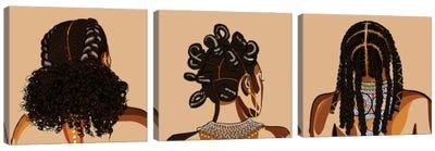 Black Hair Story Triptych Canvas Art Print