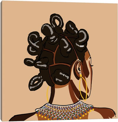 Black Hair Story - Bantu Knots Canvas Art Print