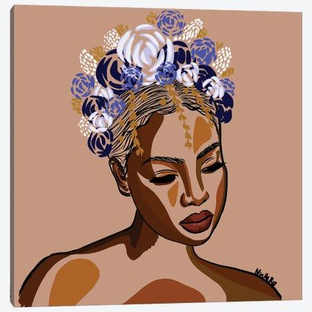 Feeling Blue Flower Crown Canvas Print #NRX96} by NoelleRx Canvas Art