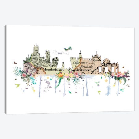 Madrid Collage Skyline Canvas Print #NRY101} by Natalie Ryan Art Print