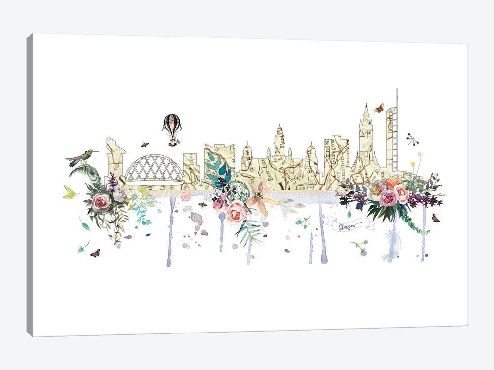 Glasgow Collage Skyline by Natalie Ryan 1-piece Canvas Wall Art