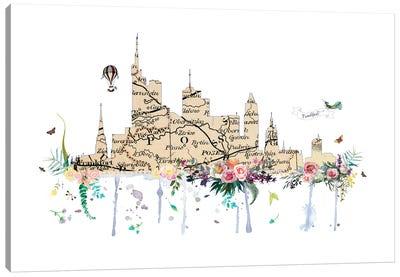 Frankfurt Collage Skyline Canvas Art Print