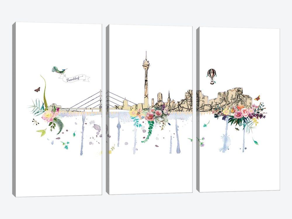 Dusseldorf Collage Skyline by Natalie Ryan 3-piece Art Print