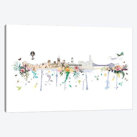 Brisbane Collage Skyline Canvas Print #NRY116} by Natalie Ryan Canvas Art Print