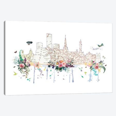 Birmingham Collage Skyline Canvas Print #NRY117} by Natalie Ryan Canvas Art Print