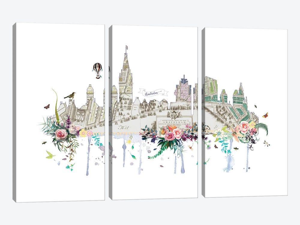 Amsterdam Collage Skyline by Natalie Ryan 3-piece Canvas Artwork
