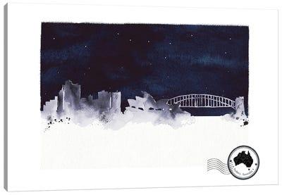 Sydney At Night Skyline Canvas Art Print