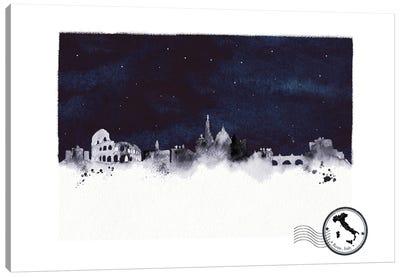 Rome At Night Skyline Canvas Art Print