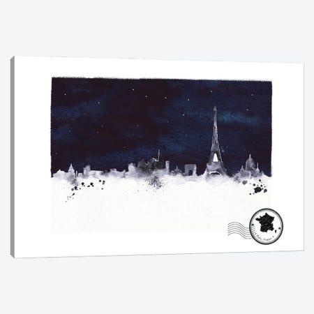 Paris At Night Skyline Canvas Print #NRY127} by Natalie Ryan Canvas Artwork