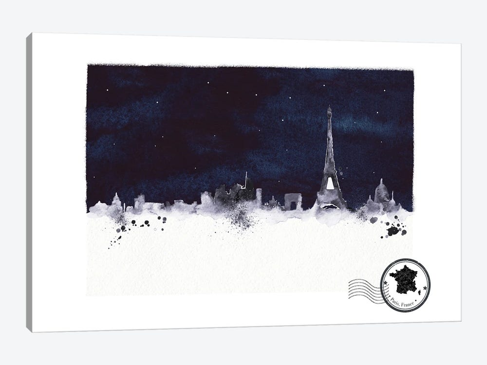 Paris At Night Skyline by Natalie Ryan 1-piece Canvas Art Print