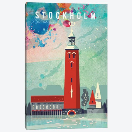 Stockholm Travel Poster Canvas Print #NRY12} by Natalie Ryan Canvas Wall Art