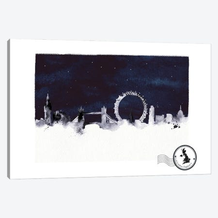 London At Night Skyline Canvas Print #NRY130} by Natalie Ryan Canvas Artwork