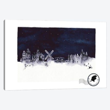 Amsterdam At Night Skyline Canvas Print #NRY133} by Natalie Ryan Canvas Artwork