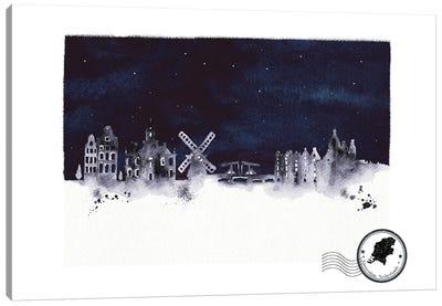 Amsterdam At Night Skyline Canvas Art Print