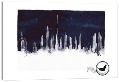 Abu Dhabi At Night Skyline Canvas Art Print