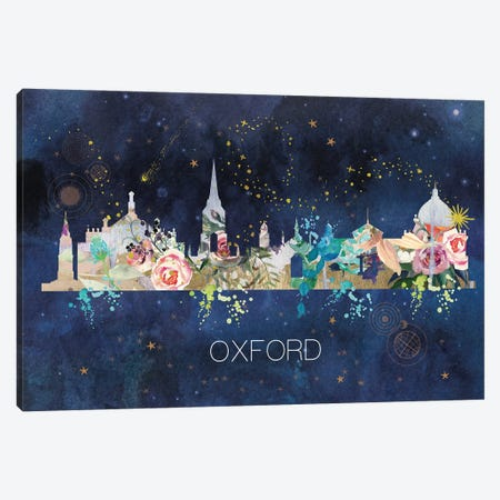 Oxford Watercolor Skyline Canvas Print #NRY152} by Natalie Ryan Canvas Wall Art