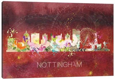 Nottingham Watercolor Skyline Canvas Art Print