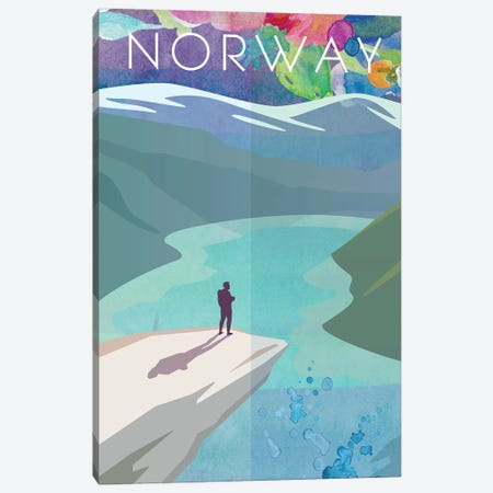Norway Travel Poster Canvas Print #NRY18} by Natalie Ryan Canvas Artwork