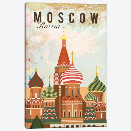 Moscow Travel Poster Canvas Print #NRY21} by Natalie Ryan Canvas Art Print