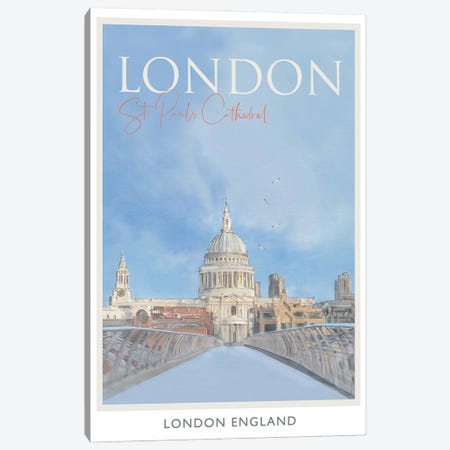 London St Pauls Travel Poster Canvas Print #NRY27} by Natalie Ryan Canvas Wall Art