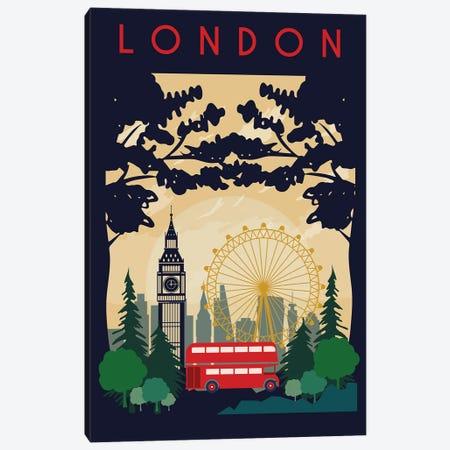 London Bus Travel Poster Canvas Print #NRY28} by Natalie Ryan Canvas Art Print