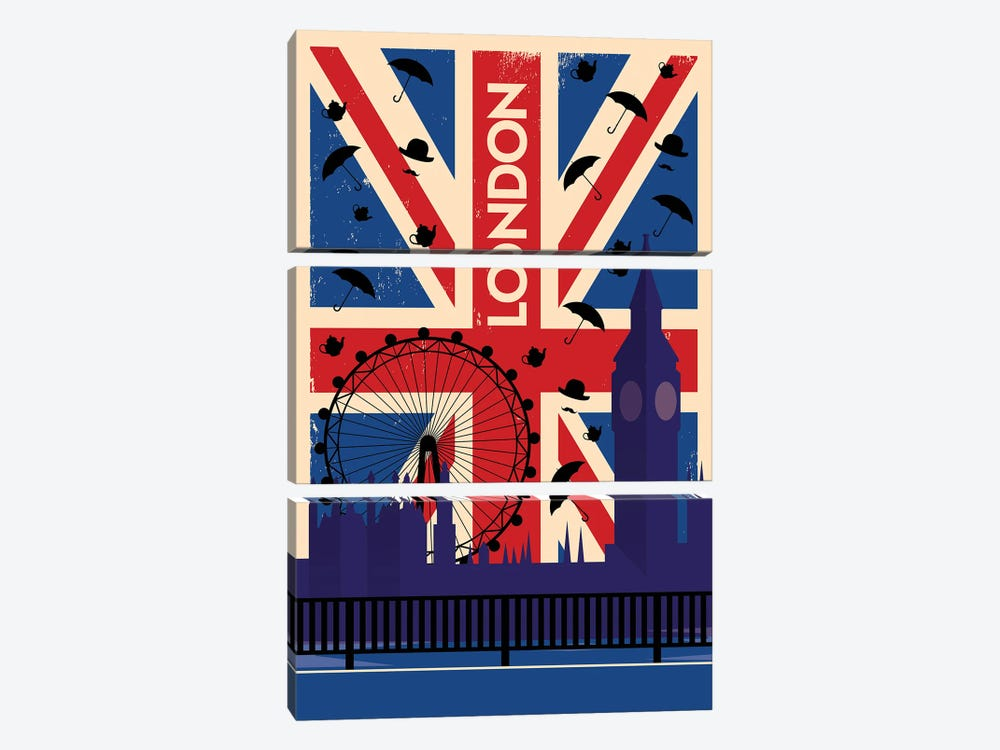 London Union Jack Travel Poster by Natalie Ryan 3-piece Art Print