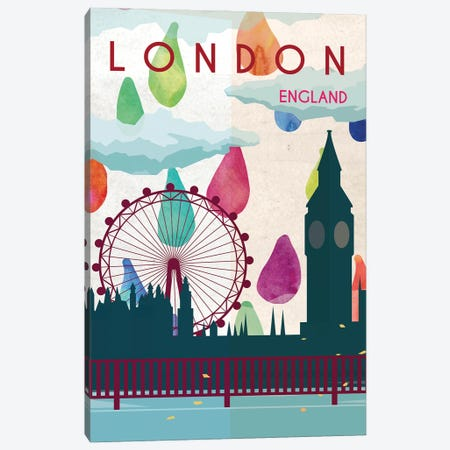 London Rain Travel Poster Canvas Print #NRY30} by Natalie Ryan Canvas Artwork