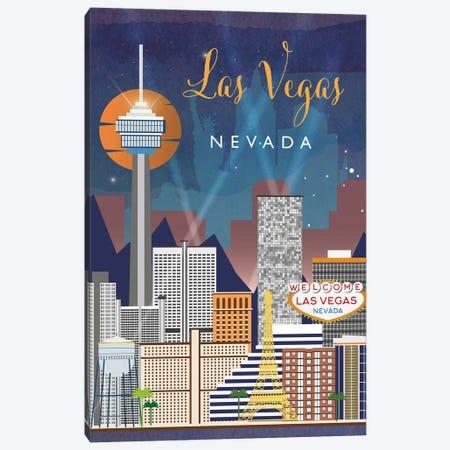 Las Vegas Travel Poster Canvas Print #NRY31} by Natalie Ryan Canvas Wall Art