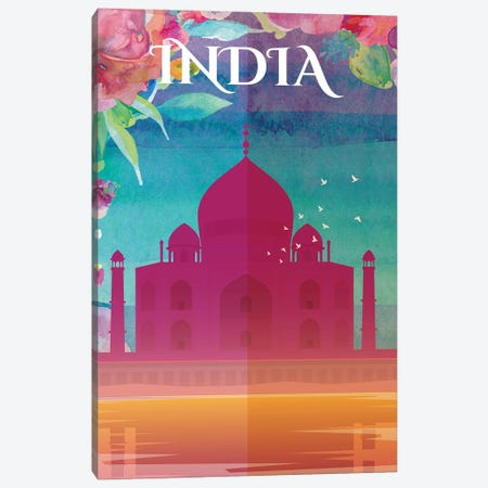 India Travel Poster Canvas Print #NRY36} by Natalie Ryan Canvas Art Print