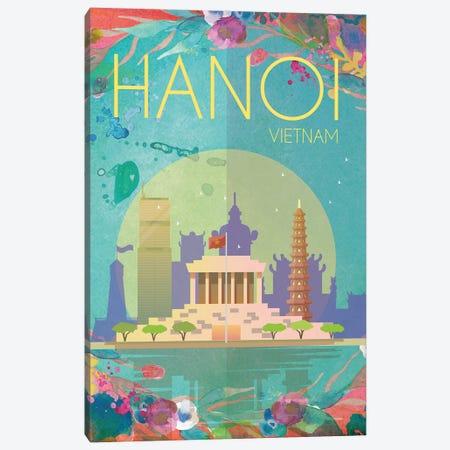 Hanoi Travel Poster Canvas Print #NRY38} by Natalie Ryan Canvas Wall Art