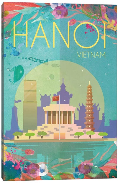 Hanoi Travel Poster Canvas Art Print