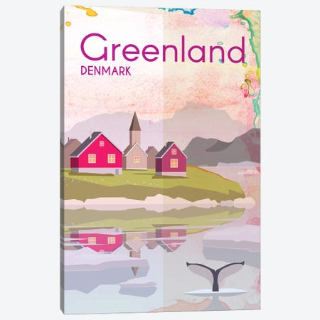 Greenland Travel Poster Canvas Print #NRY39} by Natalie Ryan Canvas Artwork