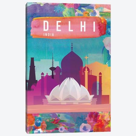 Delhi Travel Poster Canvas Print #NRY43} by Natalie Ryan Canvas Art Print