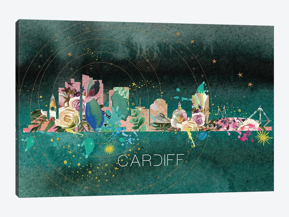 Cardiff Skyline by Natalie Ryan 1-piece Canvas Art